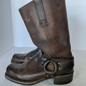 Frye Men Engineer Boots Leather Brown Size 8.5M